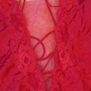 Victoria's Secret Intimates & Sleepwear - Victoria's Secret Long Red Gown Chemise Slit